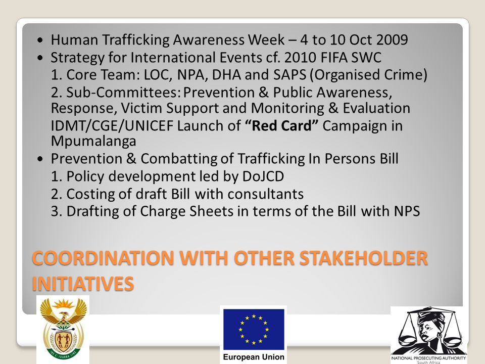 COORDINATION WITH OTHER STAKEHOLDER INITIATIVES Human Trafficking Awareness Week – 4 to 10 Oct 2009 Strategy for International Events cf. 2010 FIFA SW