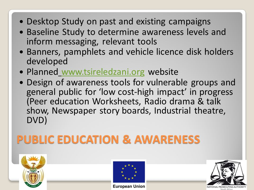 PUBLIC EDUCATION & AWARENESS Desktop Study on past and existing campaigns Baseline Study to determine awareness levels and inform messaging, relevant