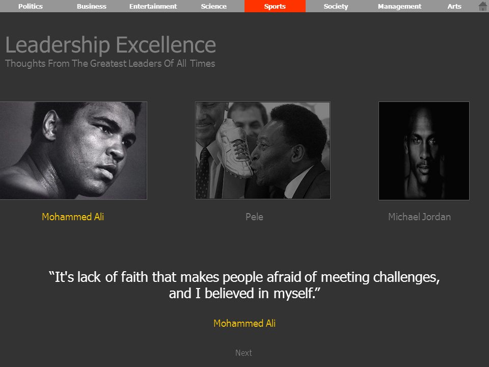 Mohammed AliPeleMichael Jordan It s lack of faith that makes people afraid of meeting challenges, and I believed in myself. Mohammed Ali Leadership Excellence Thoughts From The Greatest Leaders Of All Times PoliticsBusinessEntertainmentScienceSportsSocietyManagementArts Next