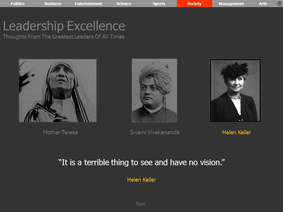 It is a terrible thing to see and have no vision. Helen Keller Leadership Excellence Thoughts From The Greatest Leaders Of All Times Mother TeresaHelen KellerSwami Vivekananda PoliticsBusinessEntertainmentScienceSportsSocietyManagementArts Next