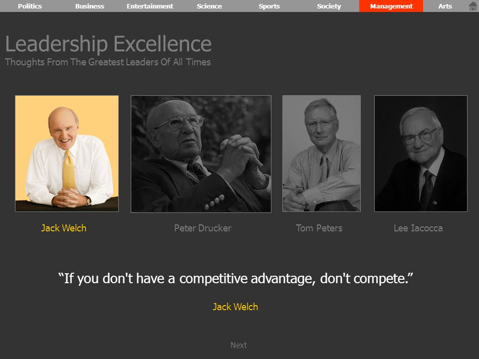 If you don t have a competitive advantage, don t compete. Jack Welch Leadership Excellence Thoughts From The Greatest Leaders Of All Times Jack WelchPeter DruckerTom PetersLee Iacocca PoliticsBusinessEntertainmentScienceSportsSocietyManagementArts Next