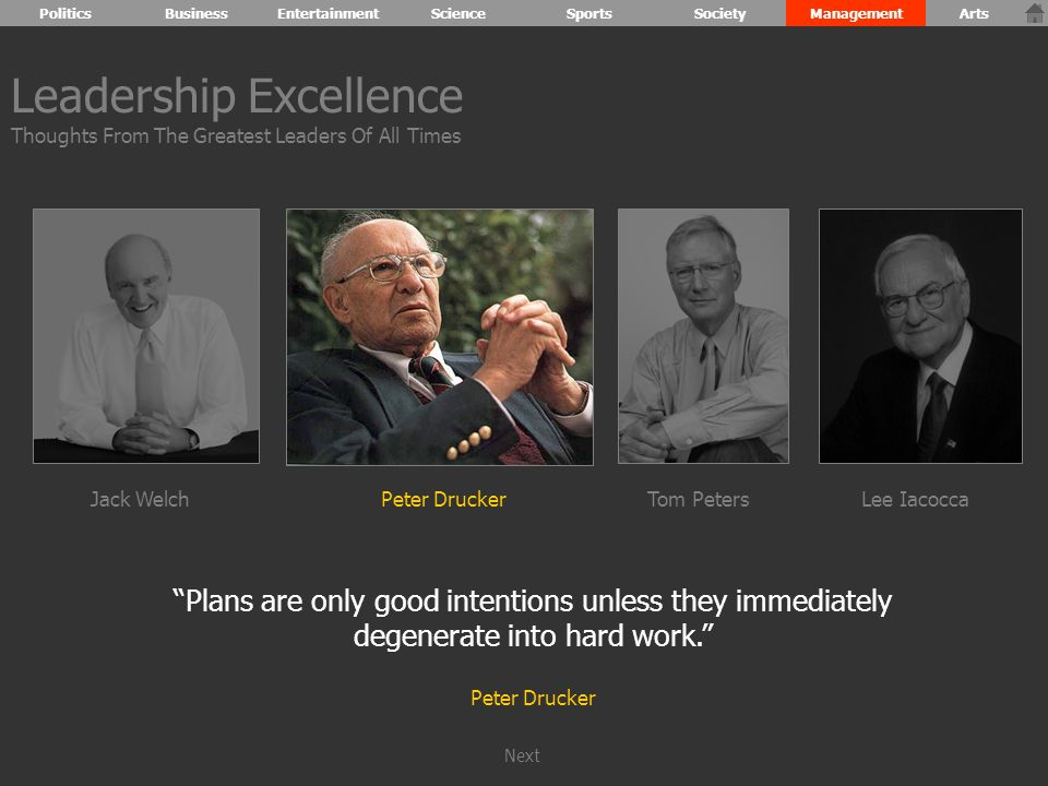 Plans are only good intentions unless they immediately degenerate into hard work. Peter Drucker Leadership Excellence Thoughts From The Greatest Leaders Of All Times Jack WelchPeter DruckerTom PetersLee Iacocca PoliticsBusinessEntertainmentScienceSportsSocietyManagementArts Next