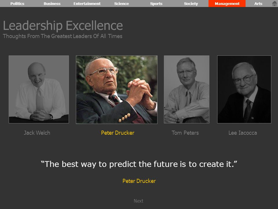 The best way to predict the future is to create it. Peter Drucker Leadership Excellence Thoughts From The Greatest Leaders Of All Times Jack WelchPeter DruckerTom PetersLee Iacocca PoliticsBusinessEntertainmentScienceSportsSocietyManagementArts Next