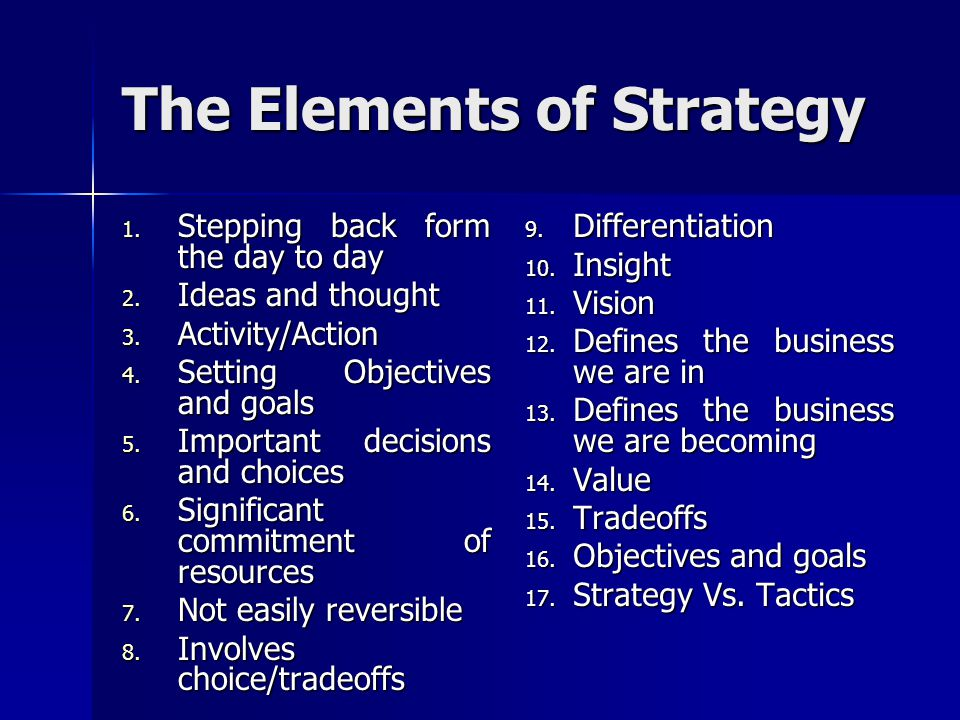 The Elements of Strategy 1. Stepping back form the day to day 2. Ideas and thought 3. Activity/Action 4. Setting Objectives and goals 5. Important dec