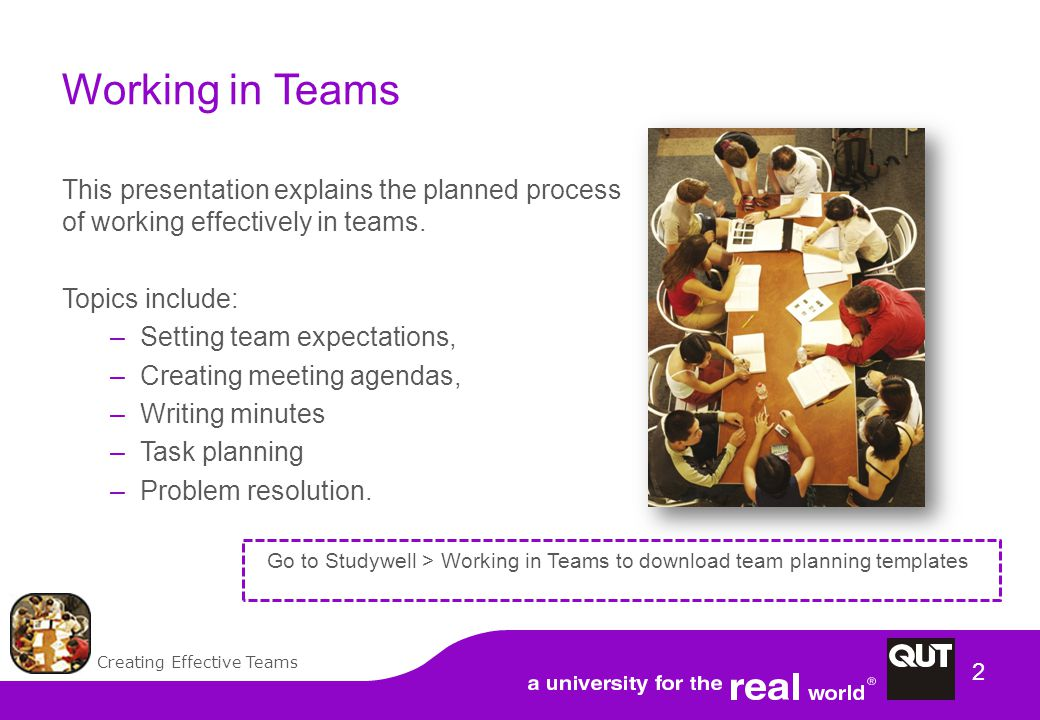 2 Working in Teams This presentation explains the planned process of working effectively in teams.