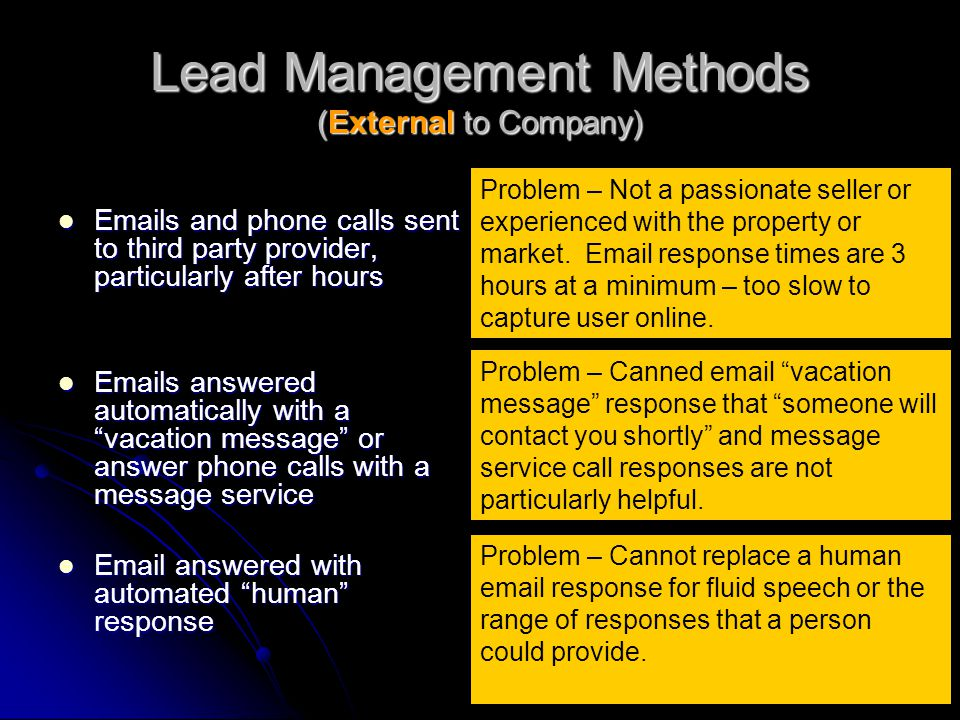 Lead Management Methods (External to Company) Emails and phone calls sent to third party provider, particularly after hours Emails and phone calls sen