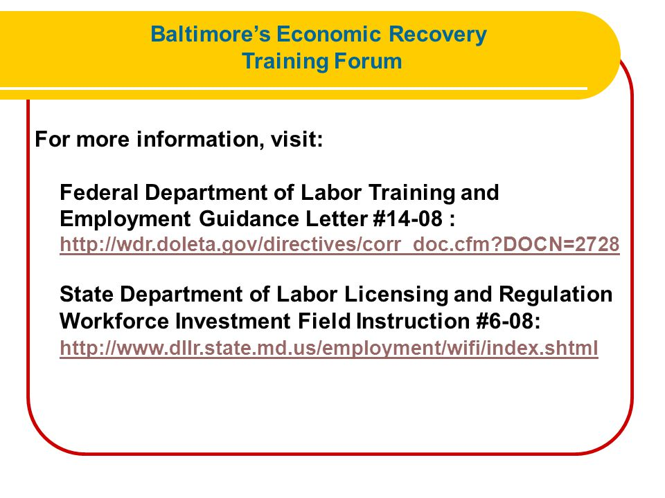 Training Opportunity Expectations Karen Sitnick Baltimore's Economic Recovery Training Forum