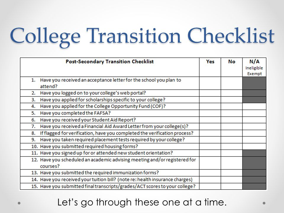 College Transition Checklist Let's go through these one at a time.