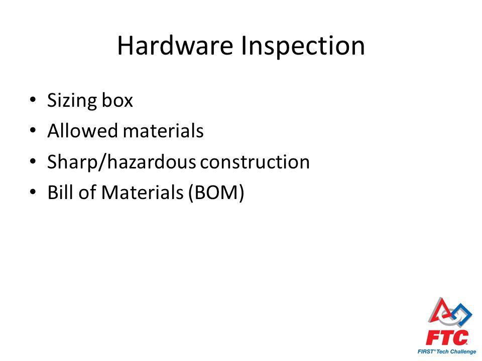 Hardware Inspection Sizing box Allowed materials Sharp/hazardous construction Bill of Materials (BOM)
