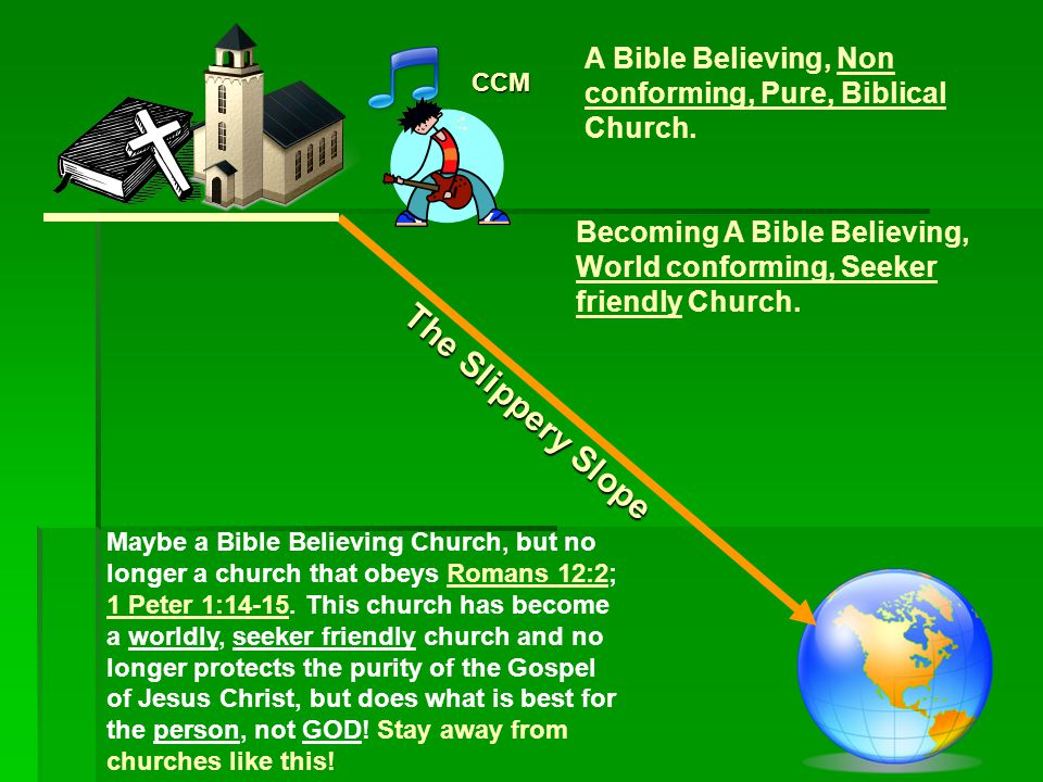 The Slippery Slope CCM A Bible Believing, Non conforming, Pure, Biblical Church.