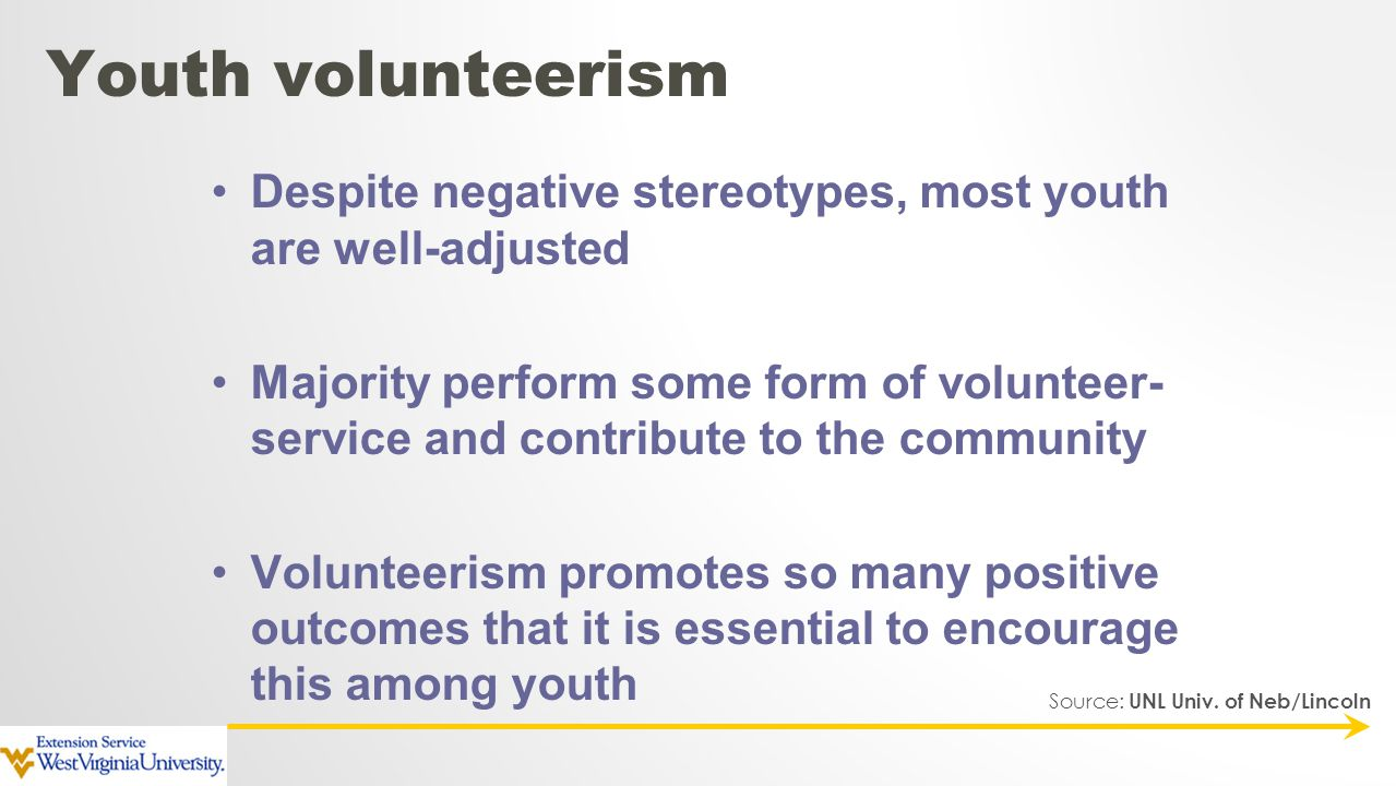 Despite negative stereotypes, most youth are well-adjusted Majority perform some form of volunteer- service and contribute to the community Volunteeri
