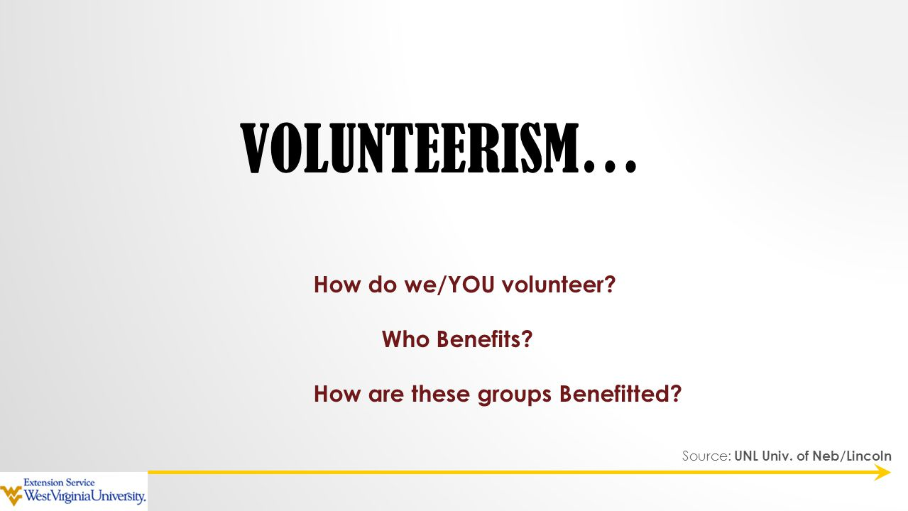 VOLUNTEERISM… How do we/YOU volunteer? Who Benefits? How are these groups Benefitted? Source: UNL Univ. of Neb/Lincoln