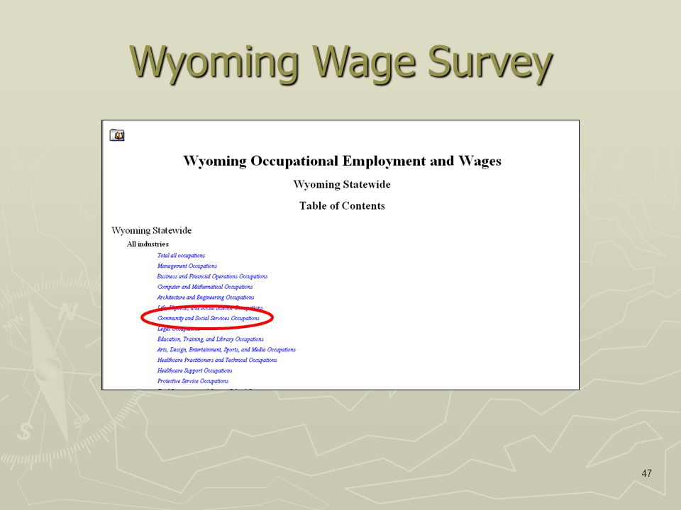 47 Wyoming Wage Survey