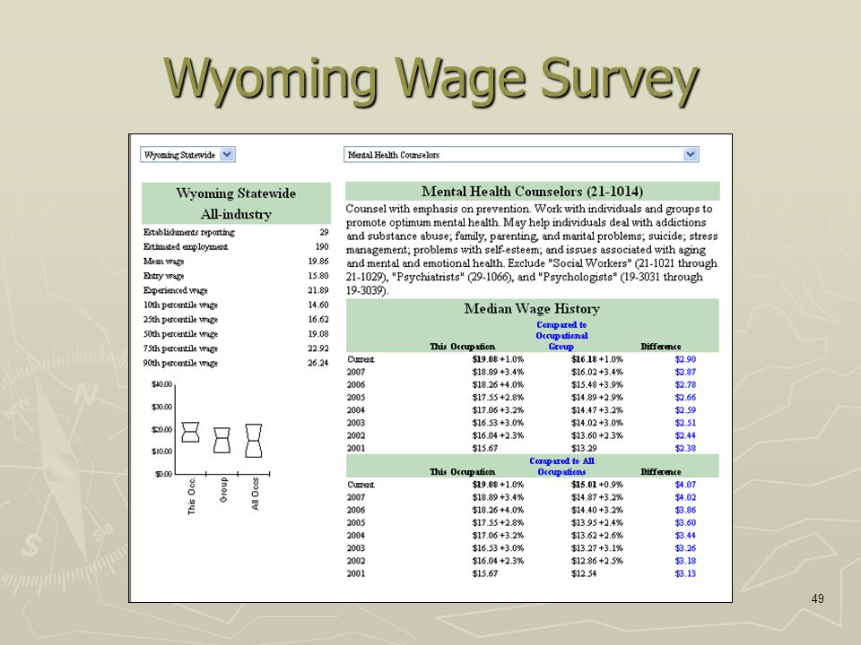 49 Wyoming Wage Survey