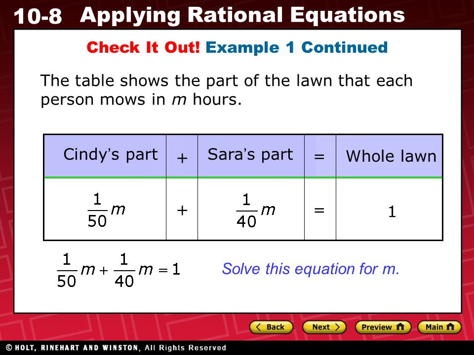 10-8 Applying Rational Equations Check It Out.