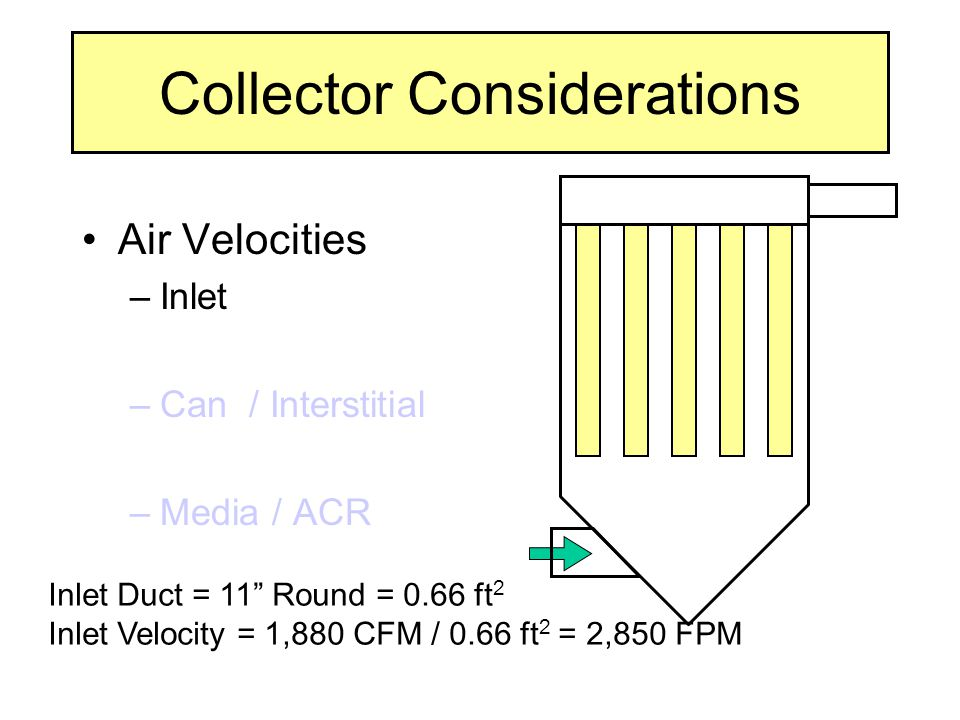 """Inlet Duct = 11"""" Round = 0.66 ft 2 Inlet Velocity = 1,880 CFM / 0.66 ft 2 = 2,850 FPM Collector Considerations Air Velocities –Inlet –Can / Interstiti"""