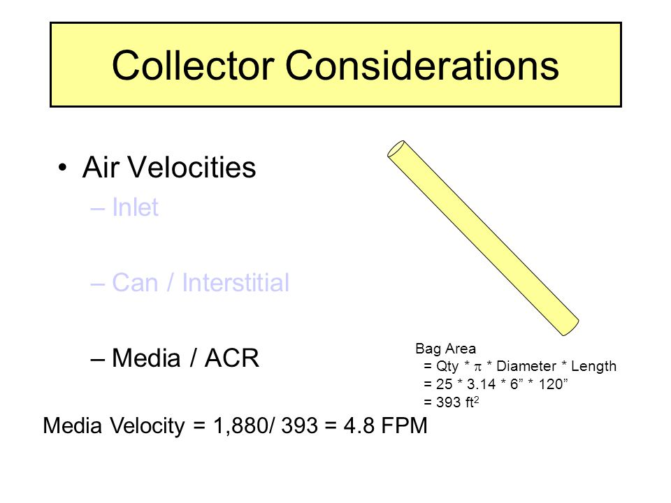 Collector Considerations Air Velocities –Inlet –Can / Interstitial –Media / ACR Bag Area = Qty *  * Diameter * Length = 25 * 3.14 * 6 * 120 = 393 ft 2 Media Velocity = 1,880/ 393 = 4.8 FPM