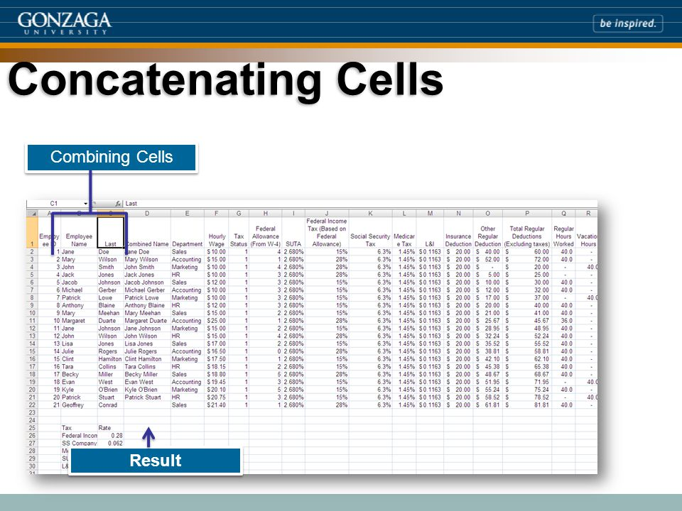 Concatenating Cells Combining Cells Result
