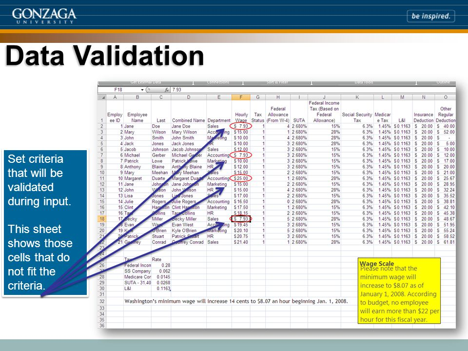 Data Validation Set criteria that will be validated during input.