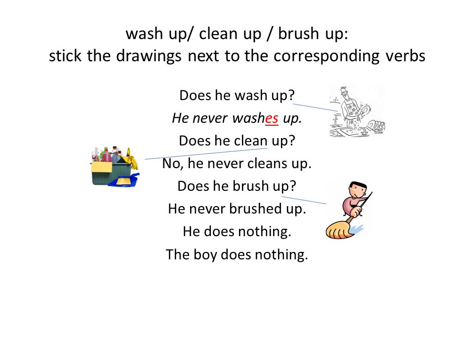 Answer the questions as in the example.- Does he wash up.