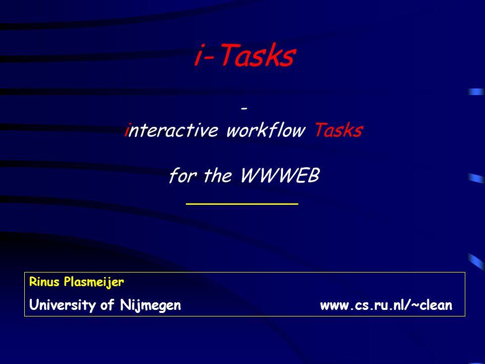 12 Final setting of an i –Tasks application Changes in Forms i –Tasks Application 1 Browser Http 1.1 Web Server Htmlcode i –Tasks Application 2i –Tasks Application n