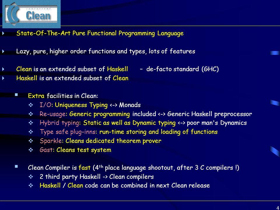 95 A simple combinator: -&&- (-&&-) infixr 4 :: (Task a) (Task b)  (Task (a,b)) | iCreateAndPrint a & iCreateAndPrint b (-&&-) taska taskb = mkTask -&&- (doAndTask (taska, taskb)) doAndTask (taska, taskb) tst=:{tasknr, html} # (a, tst=:{activated = adone, html = ahtml}) = mkParSubTask andTask 0 taska {tst & html = BT []} # (b, tst=:{activated = bdone, html = bhtml}) = mkParSubTask andTask 1 taskb {tst & tasknr = tasknr, html = BT []} = ((a,b), {tst & activated = adone && bdone, html = html +|+ ahtml +|+ bhtml}) mkParSubTask name i task tst = task (newSubTaskNr (setActivated (subTaskNr i tst))) subTaskNr i tst= { tst & tasknr = [ i : tst.tasknr] } newSubTaskNr tst = { tst & tasknr = [-1 : tst.tasknr] } setActivated tst = { tst & activated = True }