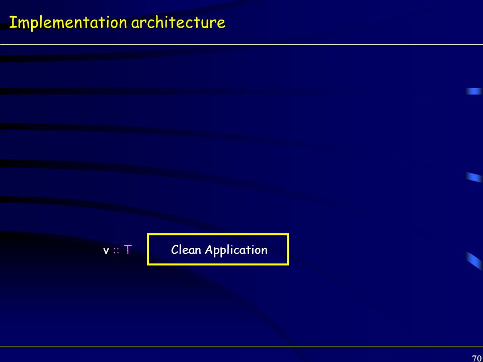 70 Implementation architecture v :: T Clean Application