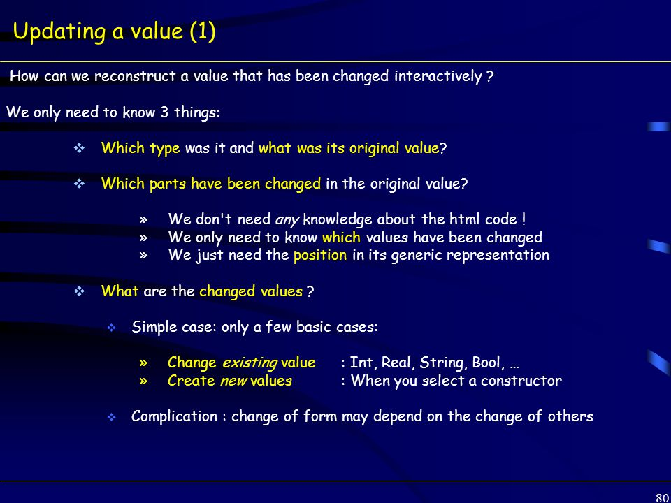 80 Updating a value (1) How can we reconstruct a value that has been changed interactively .