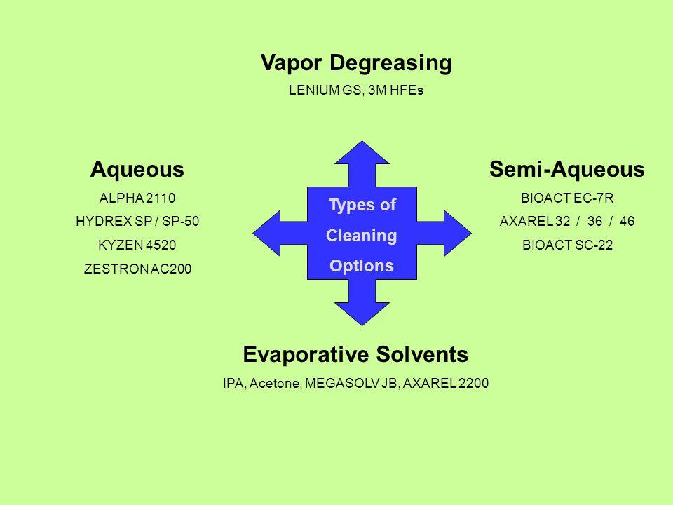 Types of Cleaning Options Vapor Degreasing LENIUM GS, 3M HFEs Aqueous ALPHA 2110 HYDREX SP / SP-50 KYZEN 4520 ZESTRON AC200 Semi-Aqueous BIOACT EC-7R AXAREL 32 / 36 / 46 BIOACT SC-22 Evaporative Solvents IPA, Acetone, MEGASOLV JB, AXAREL 2200