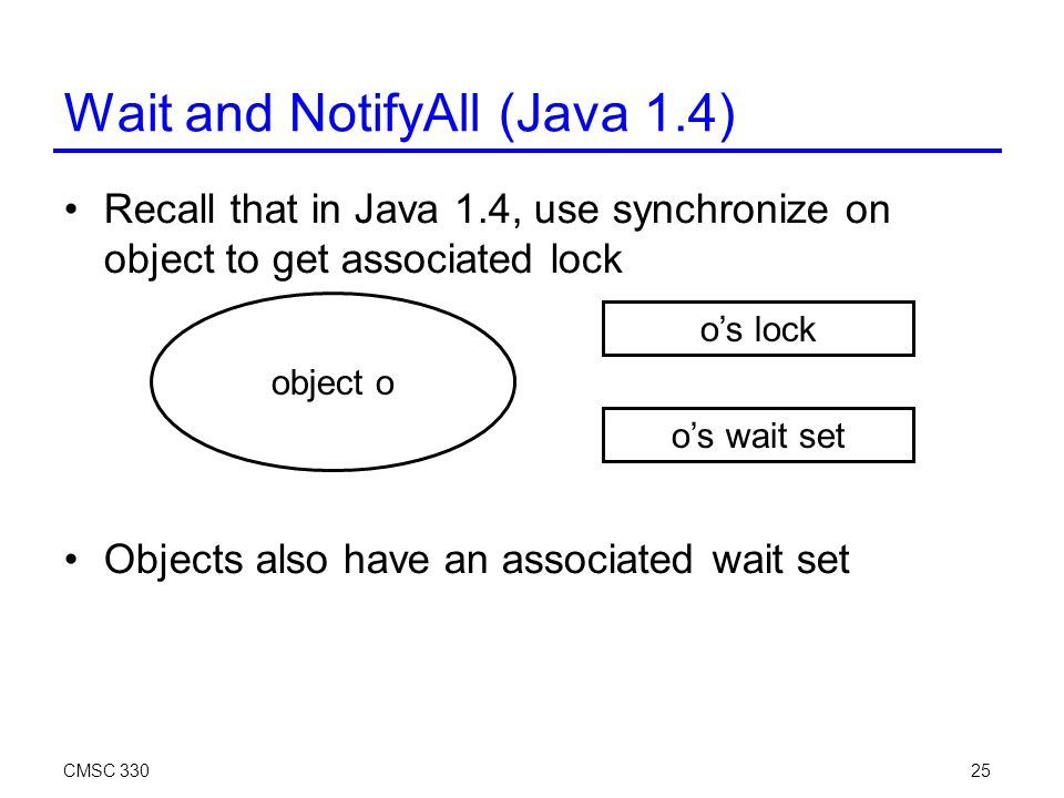 CMSC 33025 Wait and NotifyAll (Java 1.4)‏ Recall that in Java 1.4, use synchronize on object to get associated lock Objects also have an associated wait set object o o's lock o's wait set