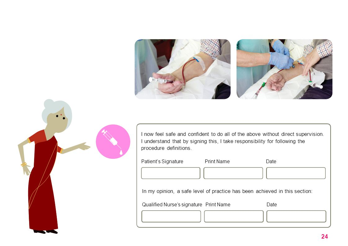 Procedure definitions: Hand hygiene: Prepare putting on pack: Assess exit site: Washes hands in accordance with Unit/Hospital Policy, at each appropriate stage Understands the importance of This in reducing infection risk.