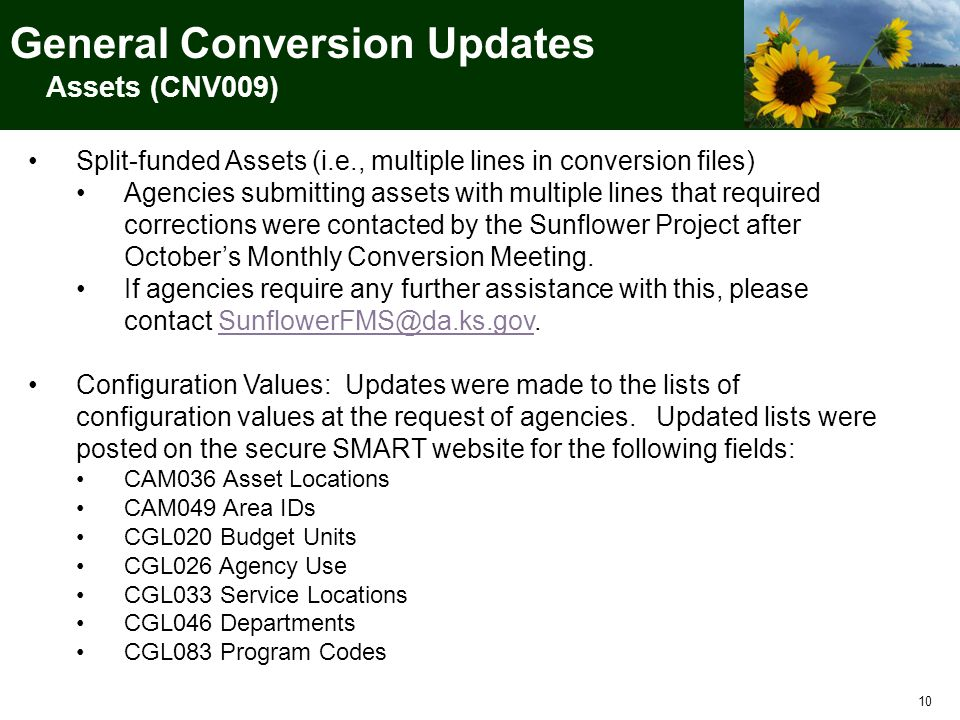 10 Split-funded Assets (i.e., multiple lines in conversion files) Agencies submitting assets with multiple lines that required corrections were contacted by the Sunflower Project after October's Monthly Conversion Meeting.