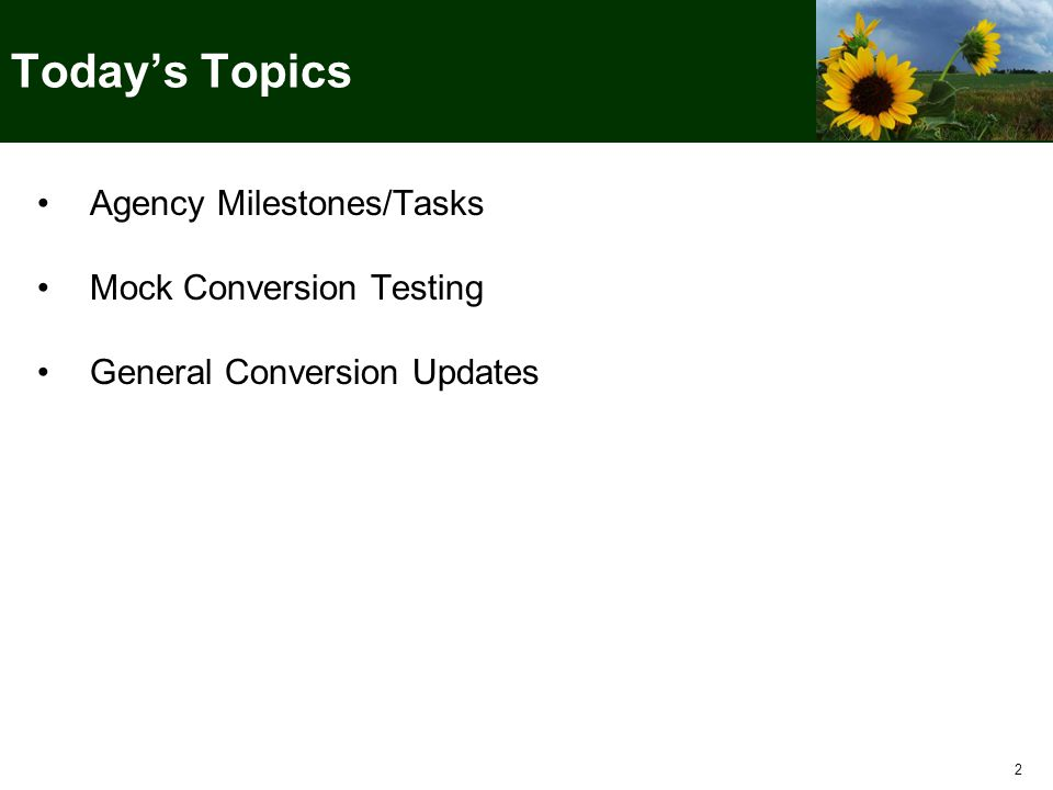 2 Today's Topics Agency Milestones/Tasks Mock Conversion Testing General Conversion Updates Agency Milestones/Tasks Mock Conversion Testing General Conversion Updates