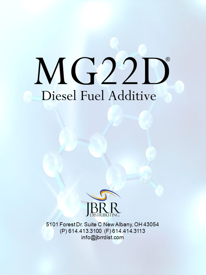 SAVES YOU MONEY.MG22D's patent pending formula is added to your diesel fuel to…..