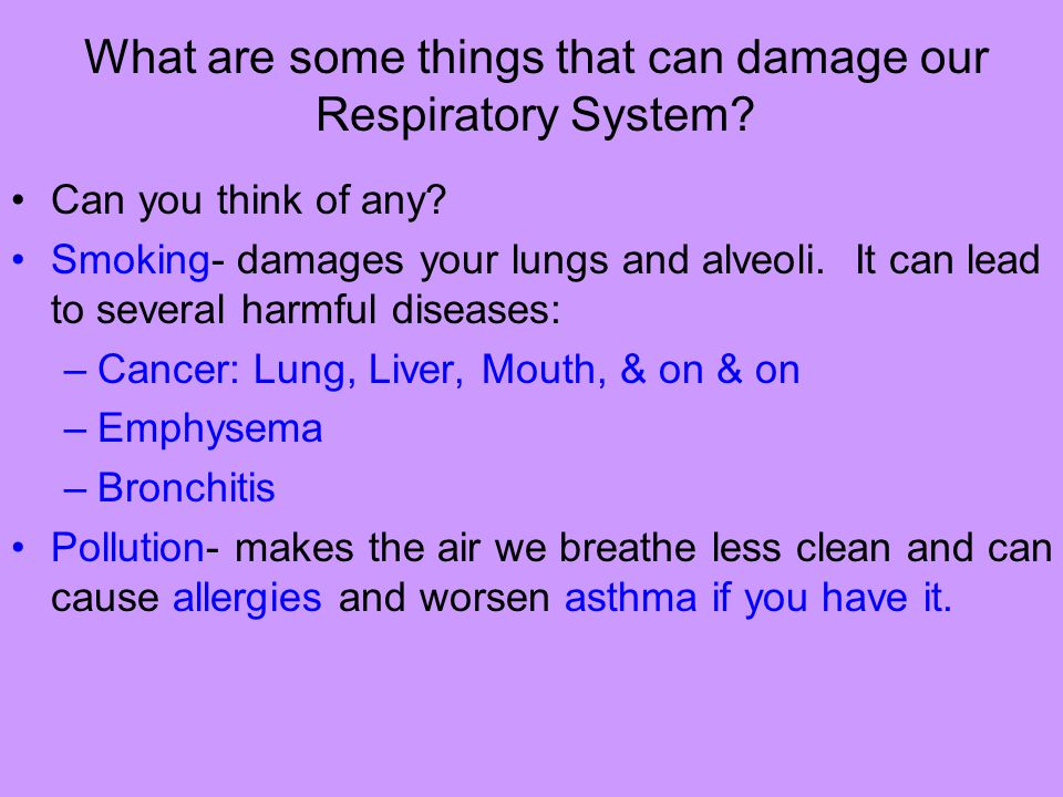 What are some things that can damage our Respiratory System? Can you think of any? Smoking- damages your lungs and alveoli. It can lead to several har