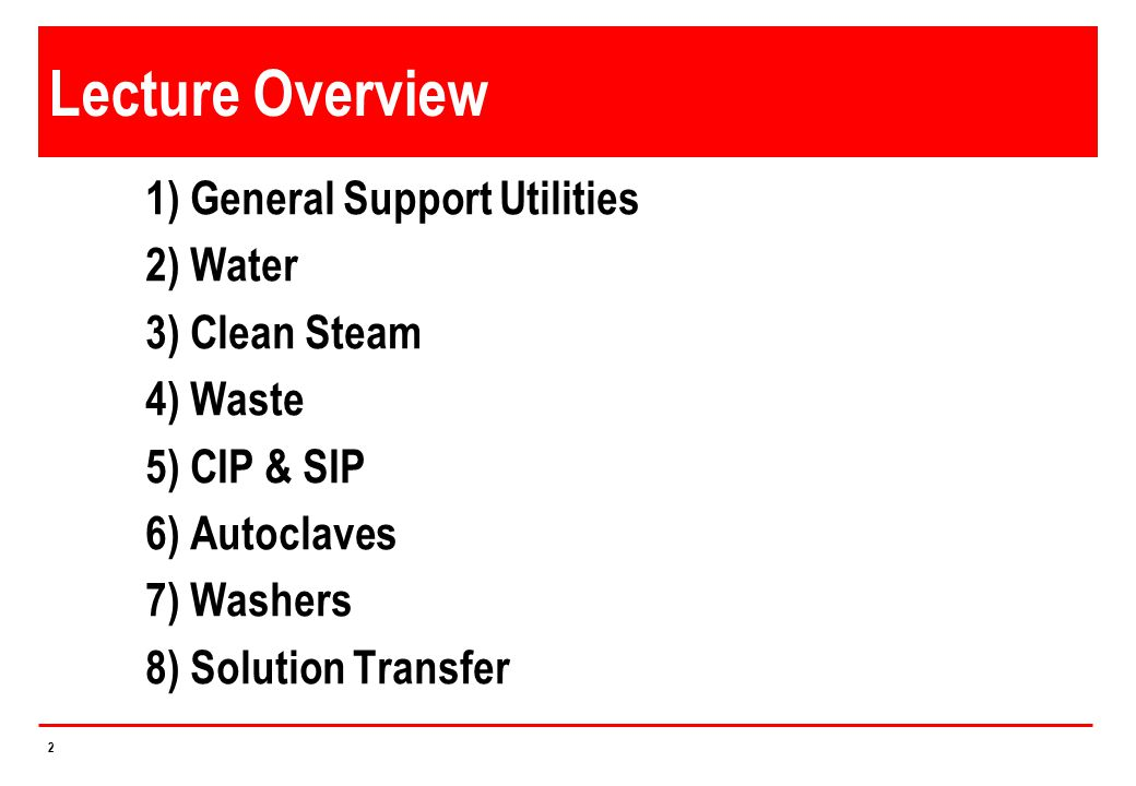 23 Water for Injection (WFI) Generation Impurities need to be frequently removed (blowdown) to ensure quality Any microorganisms killed during phase transfer Endotoxins separated during phase transfer