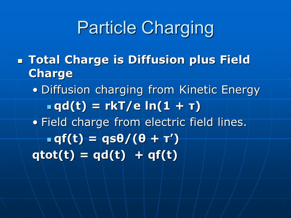 Particle Charging Total Charge is Diffusion plus Field Charge Total Charge is Diffusion plus Field Charge Diffusion charging from Kinetic EnergyDiffusion charging from Kinetic Energy qd(t) = rkT/e ln(1 + τ) qd(t) = rkT/e ln(1 + τ) Field charge from electric field lines.Field charge from electric field lines.