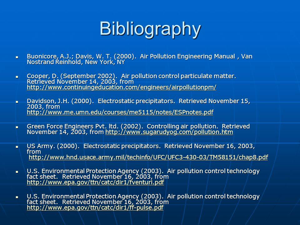 Bibliography Buonicore, A.J.; Davis, W. T. (2000). Air Pollution Engineering Manual, Van Nostrand Reinhold, New York, NY Buonicore, A.J.; Davis, W. T.