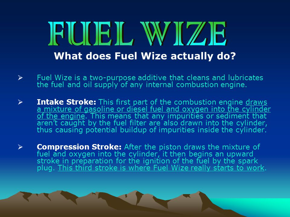 What does Fuel Wize actually do?  Fuel Wize is a two-purpose additive that cleans and lubricates the fuel and oil supply of any internal combustion e