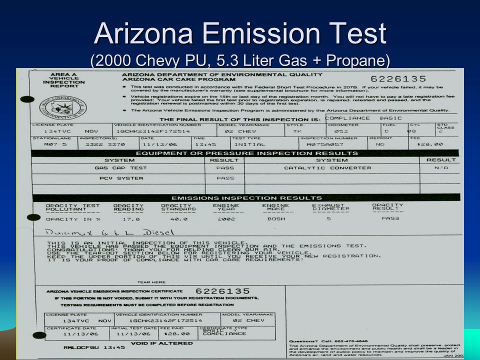 Arizona Emission Test (2000 Chevy PU, 5.3 Liter Gas + Propane)