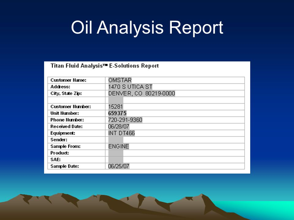Maintenance Recommendations (Current Sample Only)* VALUES NORMAL FOR THIS SAMPLE. RESAMPLE AT NORMAL INTERVAL. Oil Analysis Report