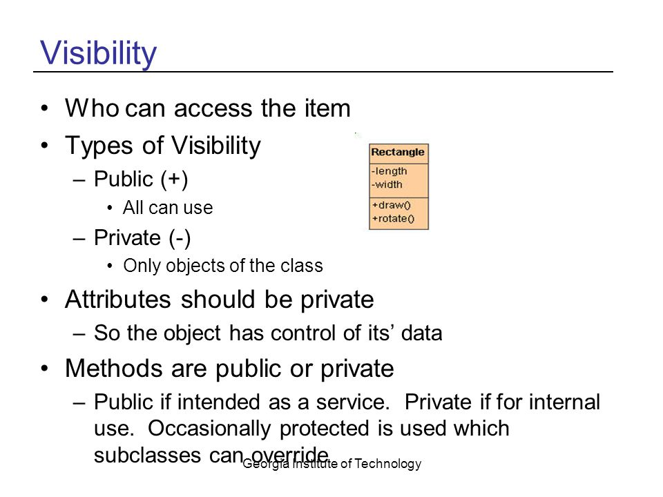 Georgia Institute of Technology Visibility Who can access the item Types of Visibility –Public (+) All can use –Private (-) Only objects of the class Attributes should be private –So the object has control of its' data Methods are public or private –Public if intended as a service.