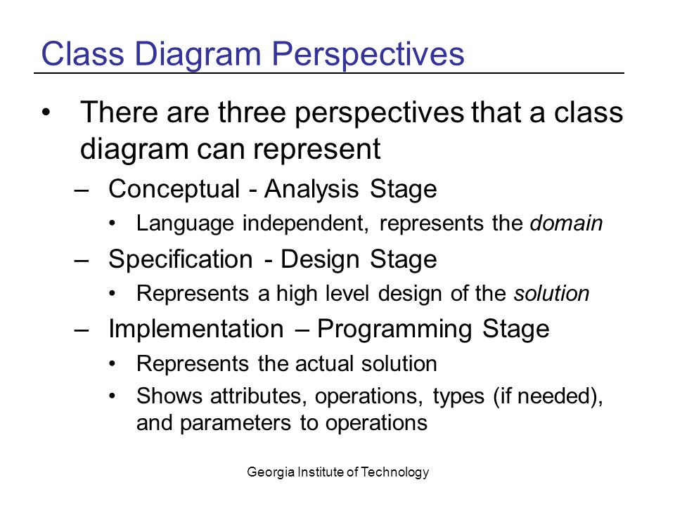 Georgia Institute of Technology Class Diagram Perspectives There are three perspectives that a class diagram can represent –Conceptual - Analysis Stage Language independent, represents the domain –Specification - Design Stage Represents a high level design of the solution –Implementation – Programming Stage Represents the actual solution Shows attributes, operations, types (if needed), and parameters to operations