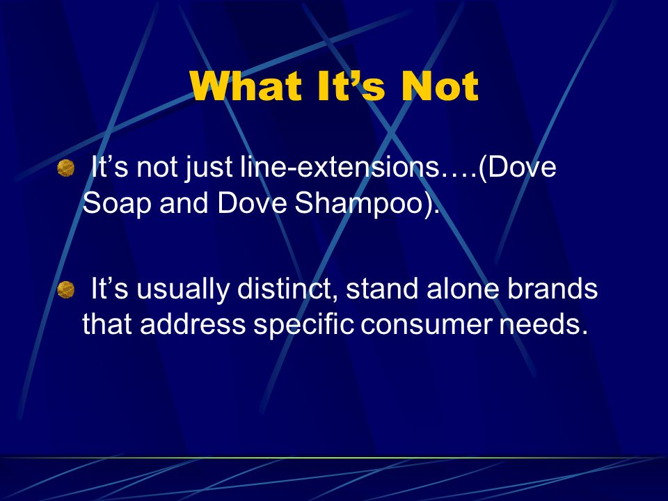 What It's Not It's not just line-extensions….(Dove Soap and Dove Shampoo).