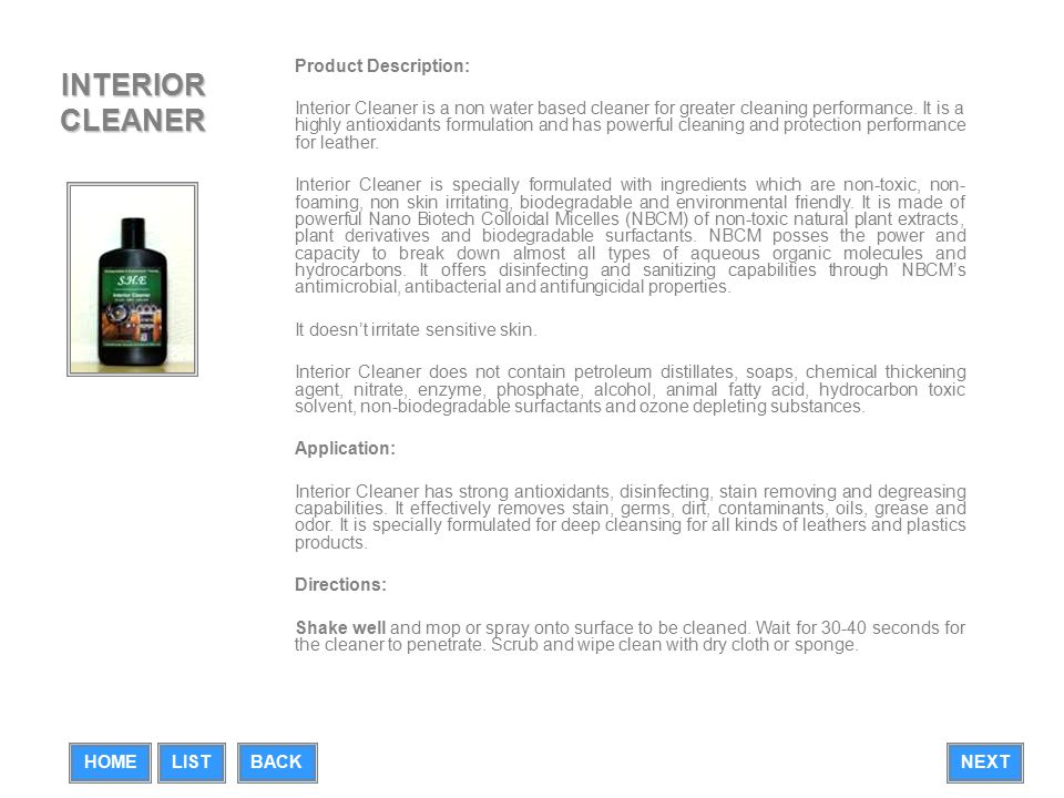 LEATHER PROTECTOR Product Description: Leather Protector is a non water based cleaner for greater cleaning performance.