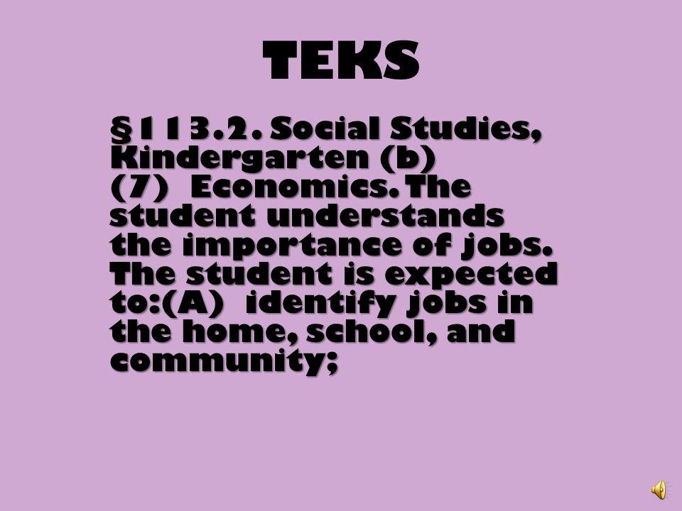 TEKS §113.2.Social Studies, Kindergarten (b) (7) Economics.
