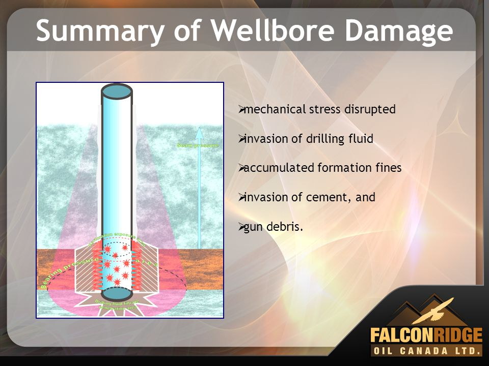 Summary of Wellbore Damage  mechanical stress disrupted  invasion of drilling fluid  accumulated formation fines  invasion of cement, and  gun de