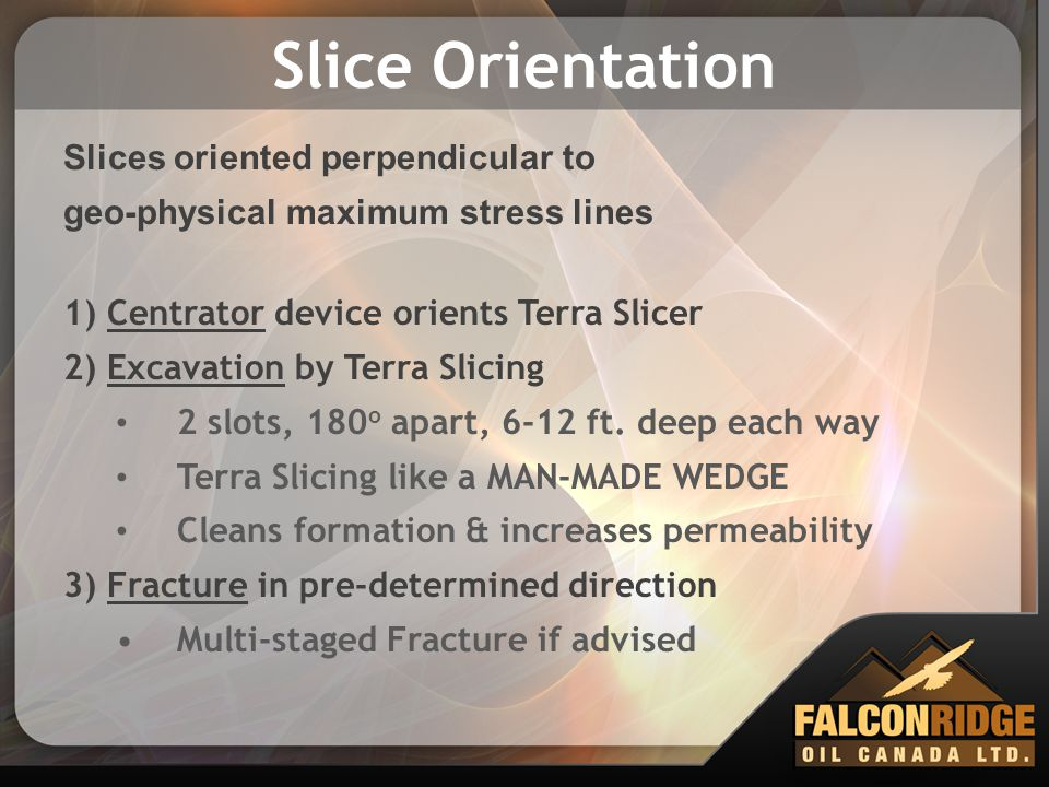 Slice Orientation Slices oriented perpendicular to geo-physical maximum stress lines 1) Centrator device orients Terra Slicer 2) Excavation by Terra S