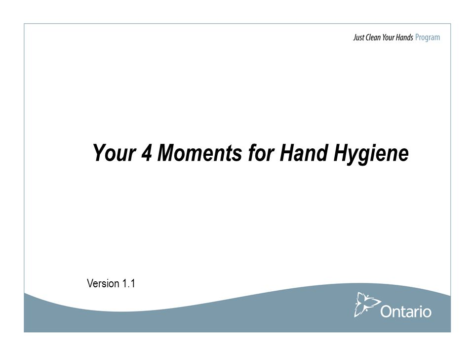 Version 1.1 Your 4 Moments for Hand Hygiene