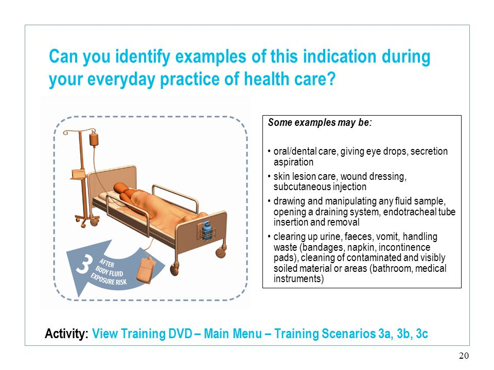 20 Can you identify examples of this indication during your everyday practice of health care.